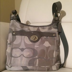 Coach Signature Gray Canvas Cross Body Bag